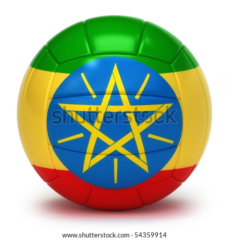 Ethiopian flag on volleyball ball isolated over white