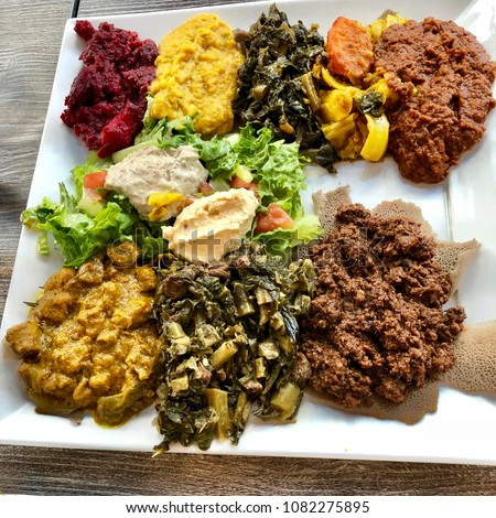 Ethiopian Food Platter with Several Mixed Vegetarian Entrees