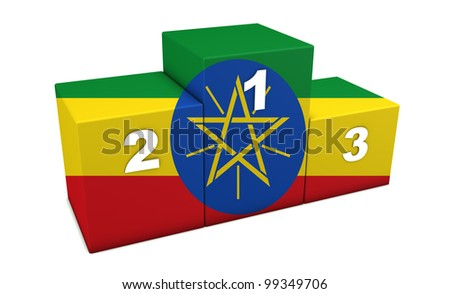 "Ethiopian olympic top positions podium. 3d rendering for concept "" the best of Ethiopia"". Isolated on white."