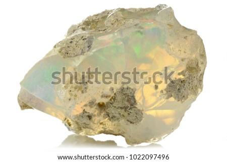 Ethiopian welo opal isolated on white background