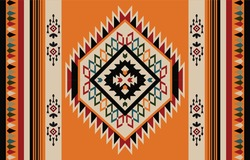 Ethnic Abstract Orange. Seamless pattern in tribal, folk embroidery, and Mexican style. Aztec geometric art ornament print.Design for carpet, wallpaper, clothing, wrapping, fabric, cover, textile