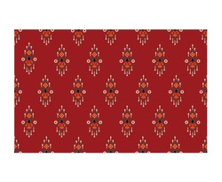 Ethnic abstract red art. Seamless pattern in tribal, folk embroidery, and Mexican style. Aztec geometric art ornament print.Design for carpet, wallpaper, clothing, wrapping, fabric, cover, textile