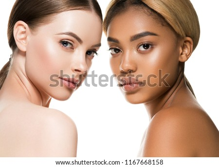 Ethnic beauty women two black and white skin healthy and beautiful models
