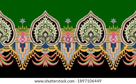 ethnic border design elements with ethnic indian colors