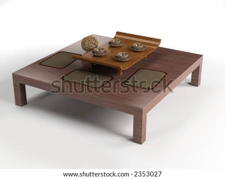 Ethnic Design Coffee Table Set 3d Rendering Stock Photo 2353027 Shutterstock