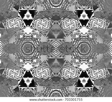 Ethnic design. Striped watercolor seamless pattern, ethnic tribal motifs, zigzag lines, brushstrokes paint in bright colors. Tribal seamless pattern hand drawn. Swimwear geometric mesh tiles batik.