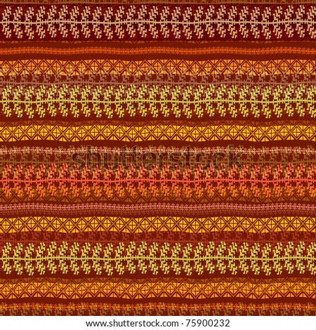 Ethnic fabric pattern with multicolored traditional motifs