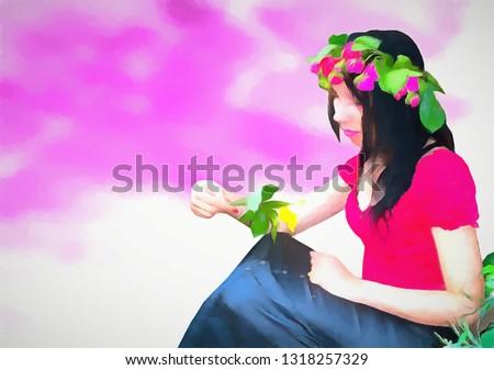 ethnic female portrait painting art