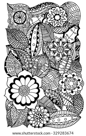 Ethnic floral zentangle, doodle background pattern circle. Henna paisley mehndi doodles design tribal design element. Black and white pattern for coloring book for adults and kids.