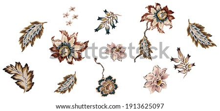 Ethnic flowers and leaves damask set isolated. Colorful vintage floral elements ethnic whit antique leafs, branches suitable for repeated pattern, on white background.
