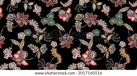 ethnic flowers and vintage leaves leaf illustration seamless pattern illustration. folkloric elements with branches, plants, floral elements and exotic leaves colorful. black background.