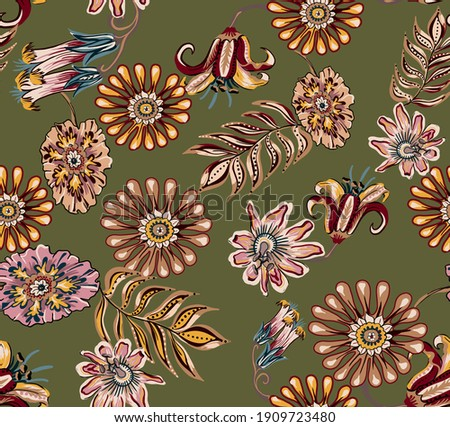 Ethnic flowers daisy and tulip mandala damask seamless pattern texture, with folkloric tropic leaves elements, colorful floral abstract elements vintage on militar color background. Foto stock ©