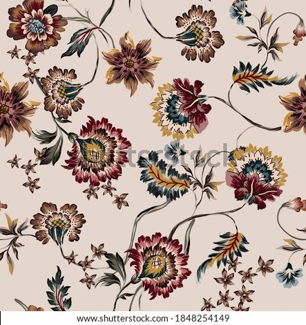 Ethnic flowers vintage and leaves colorful folkloric seamless pattern composed by antique floral ethnic and branches element on beige background.