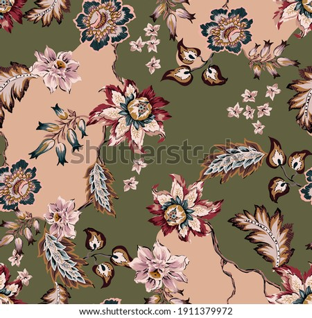 Ethnic folk flowers and leaves damask seamless pattern. Floral chrysanthemum, small flowers bouquet, vintage leafs, branches and plants on militar color background effect with shapes. Foto stock ©