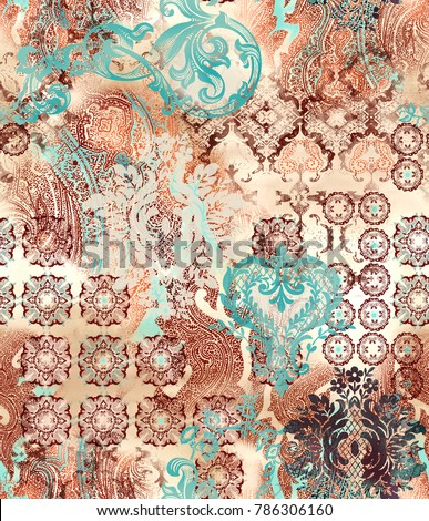 ethnic geometric motifs on abstract background