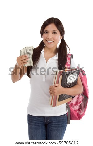 Ethnic Hispanic college student with notebook and backpack holds pile 100 (one hundred) dollar bills happy getting money help to subsidies costly university cost