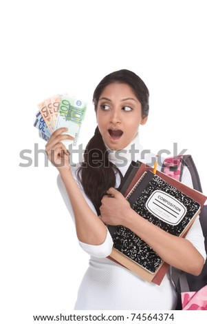 Ethnic Indian college student with compositions notebook and backpack holds pile 100 (one hundred), 50 (fifty) and 20 (twenty) euro bills happy getting money help to subsidies costly university cost