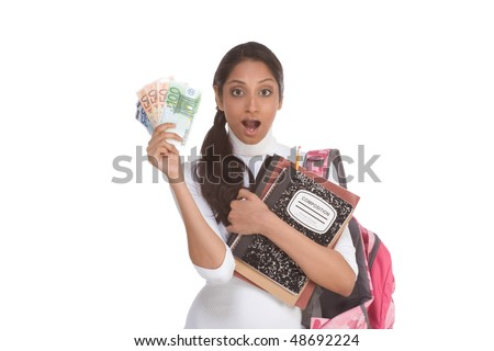 Ethnic Indian college student with copybooks and backpack holds pile 100 (one hundred), 50 (fifty) and 20 (twenty) euro bills happy getting money help to subsidies costly university cost