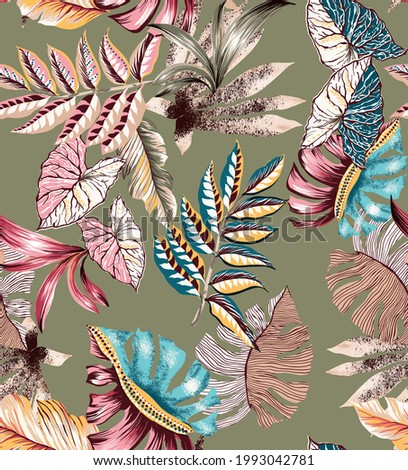 Ethnic leaves leaf seamless pattern illustration. Fabric texture vintage antique elements plants and branches. Folkloric colorful persian indian turkish. Militar color background. Foto stock ©