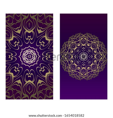 Ethnic Mandala Ornament. Templates With Mandalas.  Illustration For Congratulation Or Invitation. The Front And Rear Side. Luxury, purple godl color. Zdjęcia stock ©