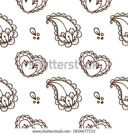 Ethnic mehendi mendi paisley and heart pattern on white background, Valentine day Stock photo ©