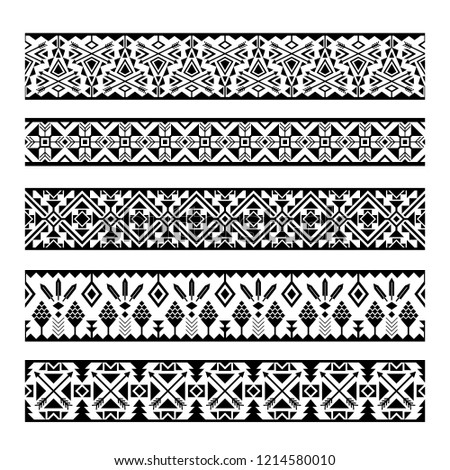 Ethnic pattern stripes. Black and white tribal mexican geometric pattern borders isolated on white background #1214580010