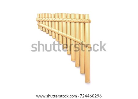 Ethnic Peruvian flute isolated on white background #724460296