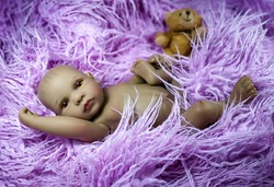 ethnic reborn baby doll, baby photo as if alive