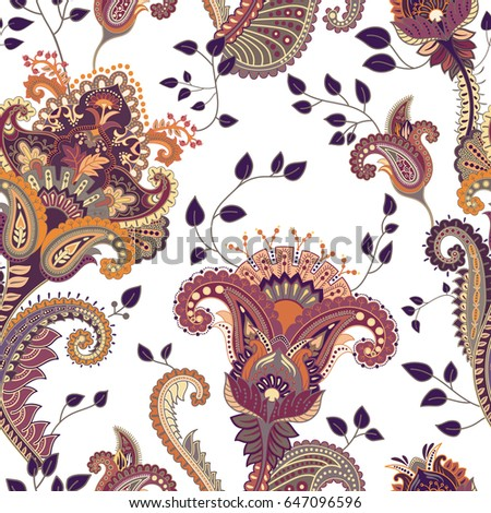 Ethnic seamless pattern. Indian floral backdrop. Paisley. Fashion style