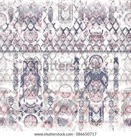 Ethnic skull bull seamless pattern. Wrapping native print. Design of India. Tribal ornament, Mexican decor. Bohemian, boho background, for wrapping paper, wallpaper, textile