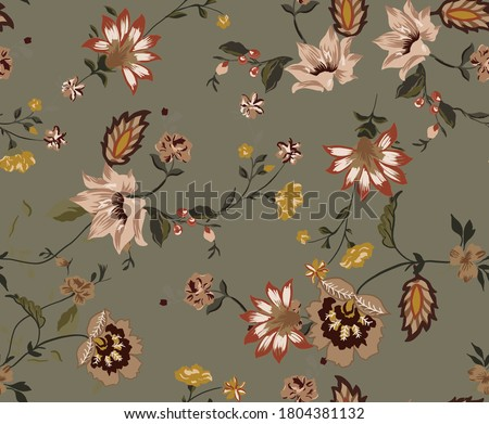 Ethnic tribal flowers seamless pattern fabric design for wallpaper textile composed by vintage flowers and branches on military color background.