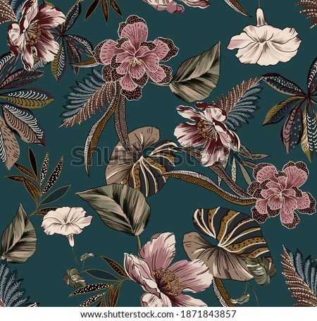Ethnic vintage flowers and leaves folk seamless pattern illustration. Abstract fabric print texture, with antique floral elements, branches and leafs on teal color background.