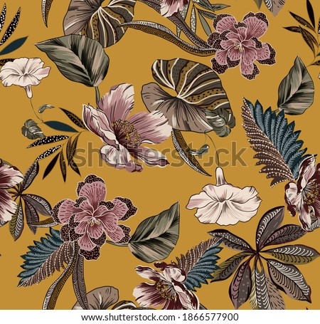 Ethnic vintage flowers fabric print seamless pattern illustration, with antique leaves colorful folkloric and different type of flowers ethnic on mustard color background.