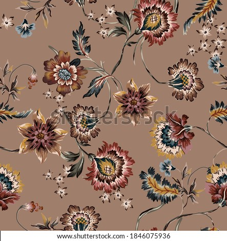 Ethnic vintage flowers pattern wallpaper seamless background texture composed by folkloric colorful floral elements and botanic antique ethnic leaves with motif branches on camel color background.