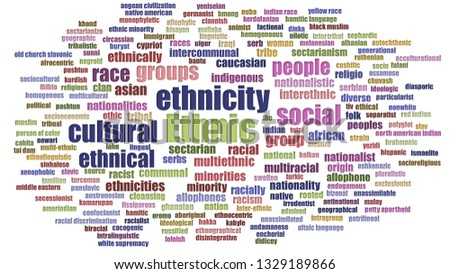 Ethnic Word Cloud In Rows Isolated
