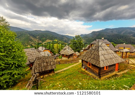 Ethno village  near Mokra Gora in Zlatibor surroundings, Serbia. #1121580101