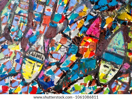 Ethnography  The picture painted in oils. The painting shows a large crowd of people. crowd, abstract, old ortress. Bulgars