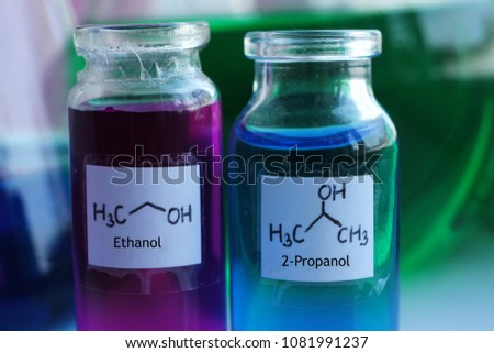 Ethyl and isopropyl alcohols, colored in purple and blue colors. They are used as solvents.