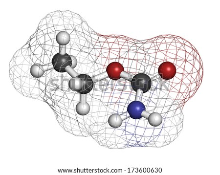 Ethyl carbamate carcinogenic molecule. Present in fermented food and beverages and especially in distilled beverages. Atoms are represented as spheres with conventional color coding.