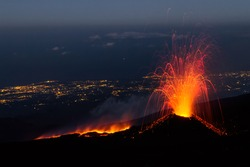 Etna eruption of July 2014 - lava flow and explosions