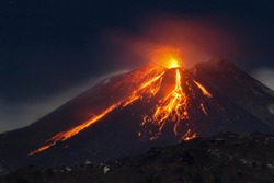 etna eruption sicily lava nature