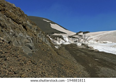 Etna mountain landscape, volcanic rock and snow.