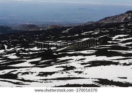 Etna mountain landscape, volcanic rock and snow, Sicily, Italy