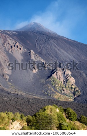 Etna South-East volcanic cone and lava flow cooled on steep slope of Bove Valley, Sicily