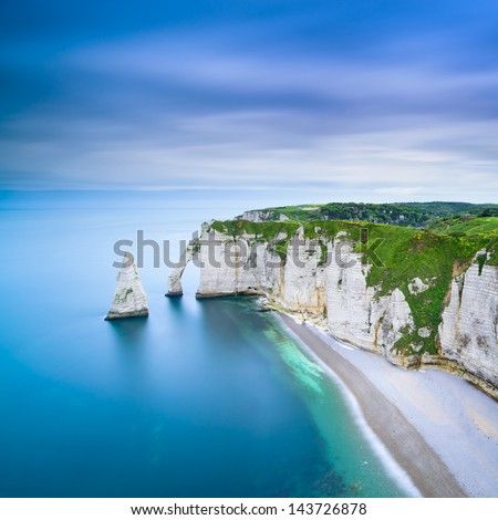 Etretat Aval Cliff, Rocks And Natural Arch Landmark And Blue Ocean. Aerial View. Normandy, France, Europe.