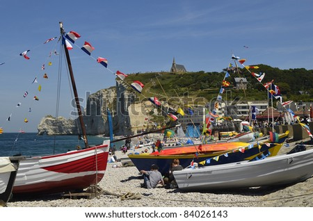 Etretat, France, beach of the little village in the Normandy