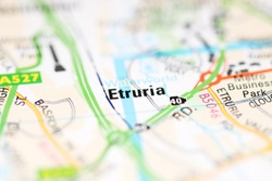 Etruria on a geographical map of UK