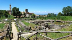 Etrurian ruins site in Volterra, Italy