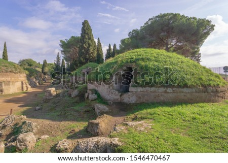 Etruscan necropolis (8th century b.C.) Cerveteri Rome Province, Italy. UNESCO World Heritage Stock photo ©