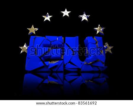 EU breaks up / on black reflective Studio floor